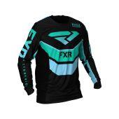 FXR Podium MX Jersey Black/Mint/Sky Blue
