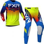 FXR Helium MX Blue Hi Vis Yellow Red Gear combo
