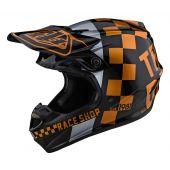 Troy Lee Designs SE4 Polyacrylite Checker Helmet Black Gold