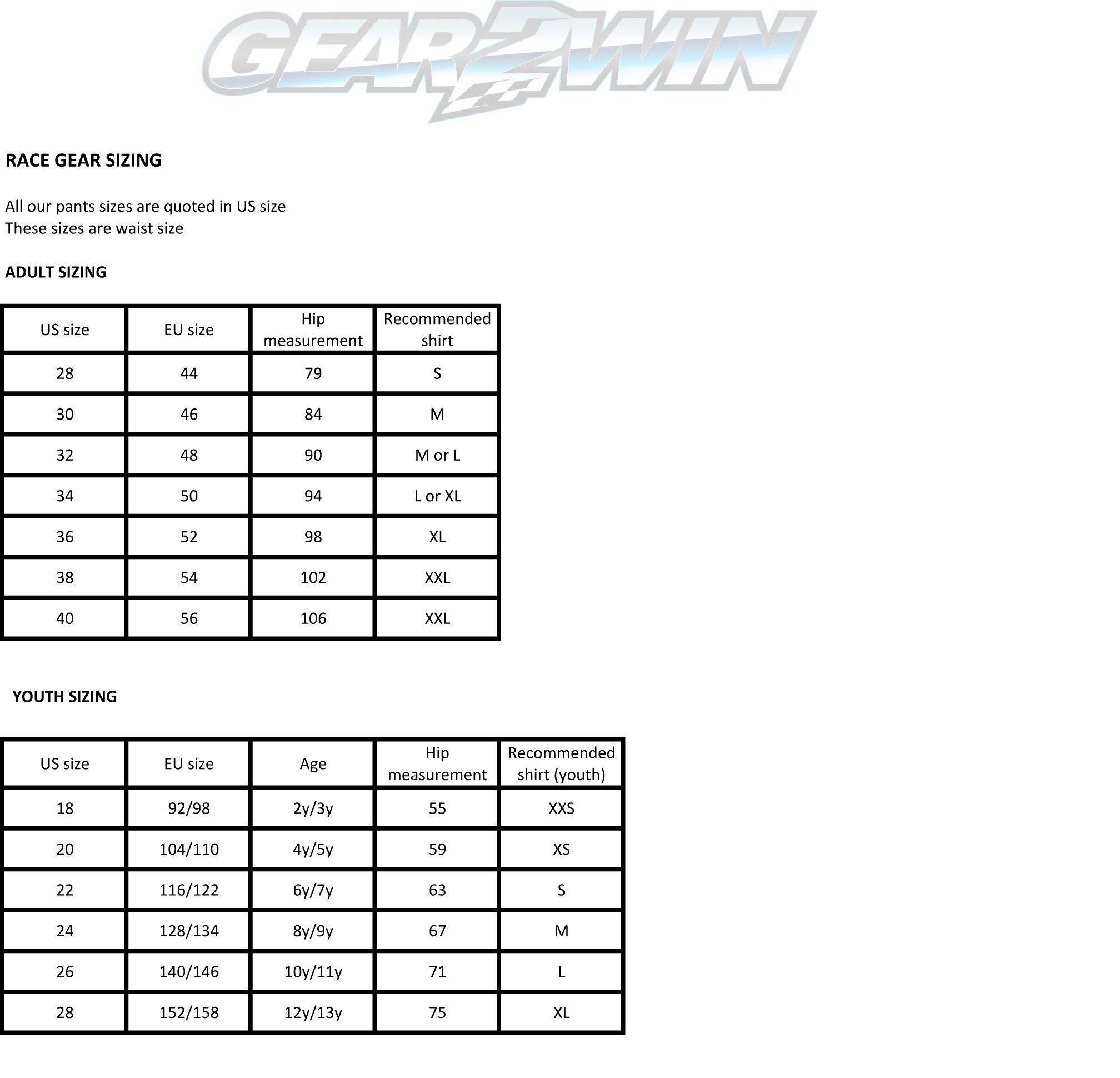 Gear2win Race Gear sizing chart
