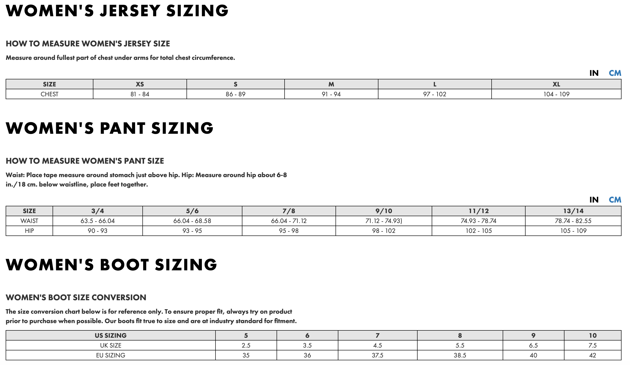 Women Motocross Size chart